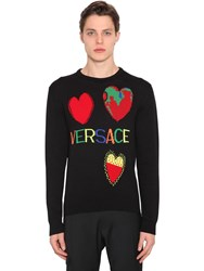 Versace Intarsia Hearts Wool Knit Sweater Black