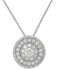 Macy's Diamond Circle Cluster Pendant Necklace In 18K White Gold 1 Ct. T.W.