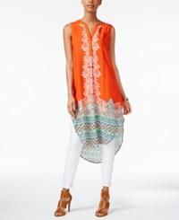 Cable And Gauge Sleeveless High Low Tunic Orange Border Print