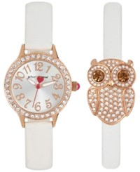 Betsey Johnson Women's White Imitation Leather Strap Watch And Bracelet Set 30Mm Bj00536 38 Rose Gold