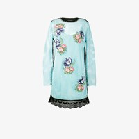 House Of Holland Floral Embroidered Mesh Dress Blue