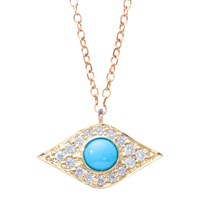 London Road Enchanted Evil Eye 9Ct Yellow Gold Diamond Turquoise Pendant Necklace Gold