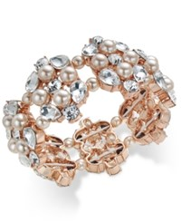 Charter Club Rose Gold Tone Crystal And Pink Imitation Pearl Stretch Bracelet Only At Macy's