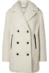 By Malene Birger Double Breasted Textured Wool Blend Coat Cream