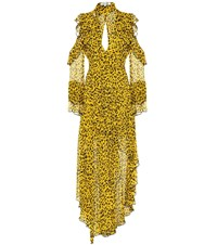 Diane Von Furstenberg Heyford Leopard Silk Maxi Dress Yellow