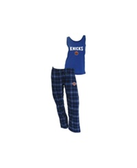 Concepts Sport College Concepts Women's New York Knicks Tank And Pajama Pants Set Royalblue Black