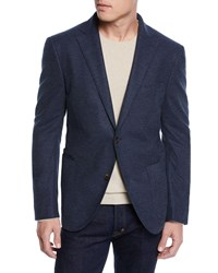 Luciano Barbera Textured Solid Unconstructed Blazer Navy