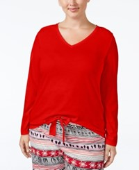 Hue Plus Size V Neck Pajama T Shirt Tango Red