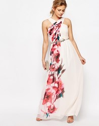 Little Mistress Cross Front Floral Placement Maxi Dress Nude Floral Pink