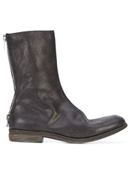 A Diciannoveventitre Rear Zip Boots Leather Horse Leather Black