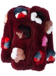 Fendi Flower Applique Fox Fur Jacket Stone