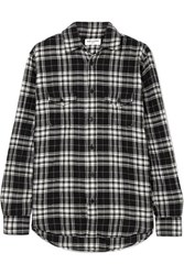 Saint Laurent Checked Crinkled Cotton Flannel Shirt Black