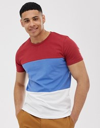 Selected Homme Colour Block Organic T Shirt In Red