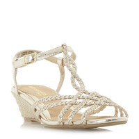 Head Over Heels Kitti Plait Twist Mini Wedge Sandals Gold