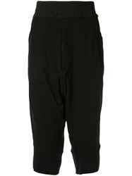 Julius Cropped Drop Crotch Trousers Black
