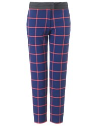 Thakoon Navy Check Cropped Trousers Multi
