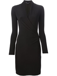 Norma Kamali Wrap Style Fitted Dress Black