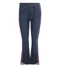 Mother The Insider Crop Step Fray Striped Jeans Blue