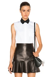 Givenchy Contrast Collar Sleeveless Poplin Shirt With Pearls In White