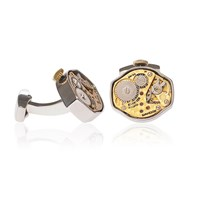 Lc Collection Rhodium Vintage Watch Movement Cufflinks Decorated With Engraving Gold And Silver
