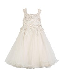 Joan Calabrese 3D Floral Cutout Lace And Tulle Dress White
