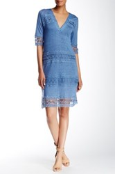 Cullen Crochet Trim Linen Tunic Dress Blue