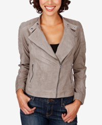 Lucky Brand Quilted Suede Moto Jacket Light Grey