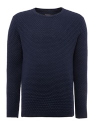 Peter Werth Billie Bubble Pattern Crew Neck Pull Over Jumpers Navy
