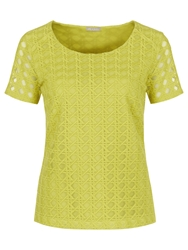Planet Geo Lace Top Chartreuse