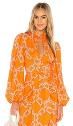 C Meo Collective Mornings Blouse In Tangerine. Tangerine Chain