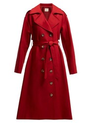 Khaite Lauren Cotton Twill Trench Coat Red