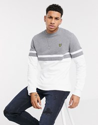Lyle And Scott Panel Stripe Crew Neck Sweat In Grey White