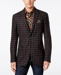 Tallia Men's Slim Fit Brown And Gray Check Sport Coat