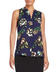 Lord And Taylor Petite Floral Button Down Blouse Evening Blue