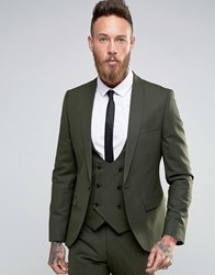 Noose And Monkey Super Skinny Suit Jacket With Stretch Khaki Green