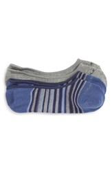 Cole Haan 2 Pack Town Stripe No Show Socks Blue Grey