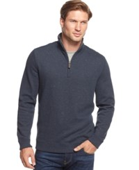 Tasso Elba Sweater Quarter Zip Mock Neck French Ribbed Pullover Navyy Neps