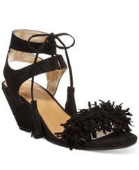 Material Girl Haniya Fringe Wedge Sandals Only At Macy's Women's Shoes Black