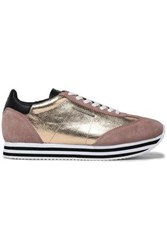 Rebecca Minkoff Woman Metallic Textured Leather And Suede Sneakers Blush