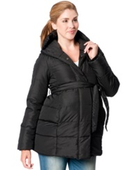 Motherhood Maternity Hooded Belted Puffer Coat Black