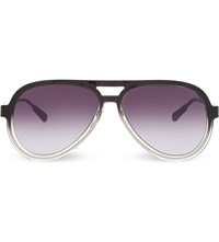 Kris Van Assche Kva78 Straight Brow Aviator Sunglasses Dark Grey And Silver