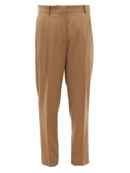 N 21 No. Pleated Wool Tapered Leg Trousers Beige