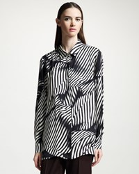 Stella Mccartney Knot Stripe Printed Silk Button Front Blouse Women's