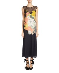 Dries Van Noten Dorsey Mesh Yoke Maxi Dress Black