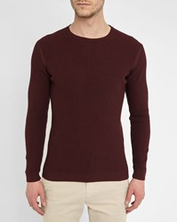M.Studio Wine Red Matthis Rib Knit Round Neck Sweater Burgundy