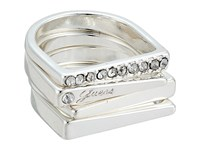 Guess 4 Piece Flat Top Bands Ring Set Silver Crystal Ring
