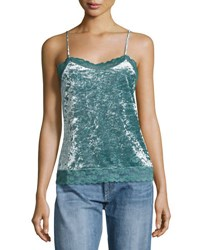Romeo And Juliet Couture Crushed Velvet Lace Trim Camisole Medium Blue