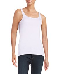 Lord And Taylor Petite Ribbed Cotton Tank African Violet