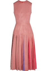 Roksanda Ilincic Kinver Pleated Leather Dress Blush