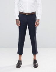 Farah Skinny Cropped Flannel Trousers Navy